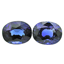 4.31 cttw Pair of Oval Sapphires : Fine Royal Blue