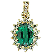 18K Yellow Gold 2.50cttw Emerald & Diamond Pendant