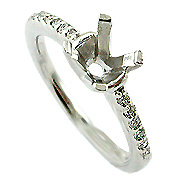 18K White Gold 0.10cttw Diamond Setting