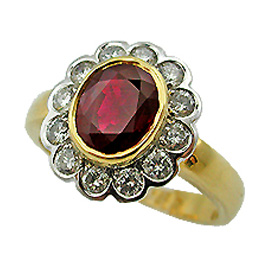 18K Two Tone Gemstone Ring : 2.22 cttw Ruby & Diamonds