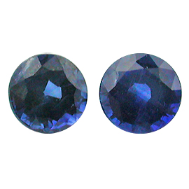 1.10 cttw Pair of Round Sapphires : Royal Blue