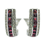 18K White Gold 2.09cttw Ruby & Diamond Earrings