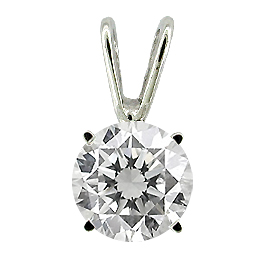 14K White Gold Solitaire Pendant : 0.25 ct. Diamond