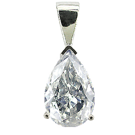 14K White Gold Solitaire Pendant : 0.25 ct. Pear Shape Diamond