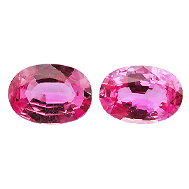 2.43 cttw Pair of Oval Sapphires : Deep Rich Pink