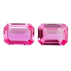 1.73 cttw Pair of Emerald Cut Sapphires : Fine Pink