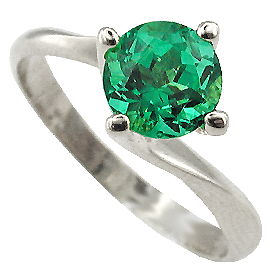 18K White Gold Solitaire Ring : 1.00 ct Emerald