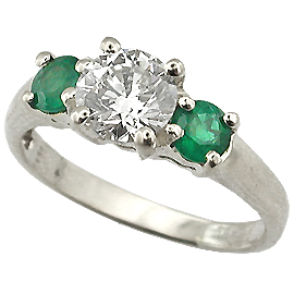 18K White Gold Three Stone Ring : 1.00 cttw Diamond & Emeralds