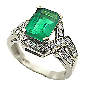 18K White Gold 3.88cttw Emerald & Diamond Ring