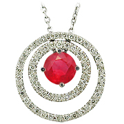 14K White Gold 0.77cttw Ruby & Diamond Pendant
