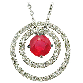 14K White Gold Drop Pendant : 0.77 cttw Ruby & Diamonds