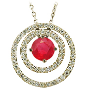 14K Yellow Gold 0.77cttw Ruby & Diamond Pendant