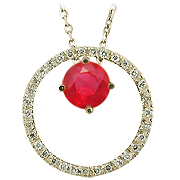 14K Yellow Gold 0.66cttw Ruby & Diamond Pendant