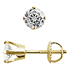 Crown Style Round Diamond G-H/I-1 Stud Earrings, 4 Prongs - 14K Yellow Gold