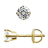 Crown Style Round Diamond G-H/SI Stud Earrings, 4 Prongs - 14K Yellow Gold