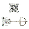 Scrollwork Style Princess Diamond G-H/SI Stud Earrings, 4 Prongs - 18K White Gold