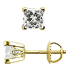 Scrollwork Style Princess Diamond G-H/SI Stud Earrings, 4 Prongs - 18K Yellow Gold