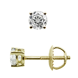 14K Yellow Gold Basket Style Stud Earrings : 0.20 cttw Diamonds