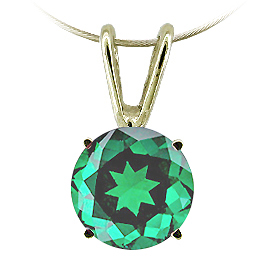 14K Yellow Gold Solitaire Pendant : 1/2 ct Emerald