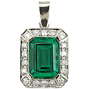 18K White Gold 2.50cttw Emerald & Diamond Pendant
