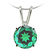 14K White Gold 1.00cttw Emerald Pendant