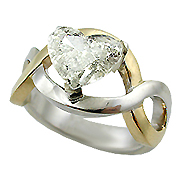 18K Two Tone 2.01ct Heart Diamond Ring