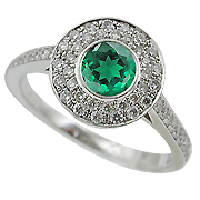 18K White Gold 0.89cttw Emerald & Diamond Ring