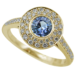 18K Yellow Gold Multi Stone Ring : 0.89 cttw Sapphire & Diamonds