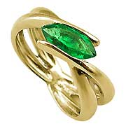 18K Yellow Gold 0.75ct Emerald Ring