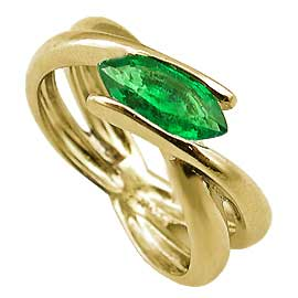18K Yellow Gold Solitaire Ring : 0.75 ct Marquise Emerald