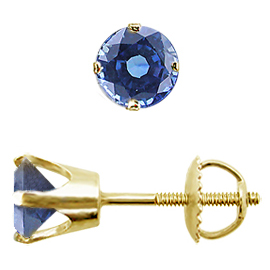 14K Yellow Gold Crown Stud Earrings : 1.00 cttw Blue Sapphires