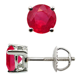 18K White Gold Stud Earrings : 1.50 cttw Rubies