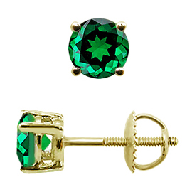 18K Yellow Gold Stud Earrings : 1.00 cttw Emeralds