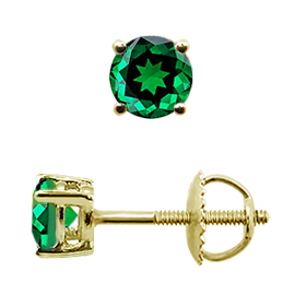 18K Yellow Gold Stud Earrings : 0.75 cttw Emeralds