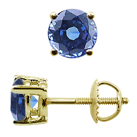 18K Yellow Gold Basket Stud Earrings : 1.50 cttw Blue Sapphires