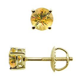 18K Yellow Gold Stud Earrings : 0.50 cttw Yellow Sapphires