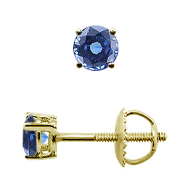 18K Yellow Gold Basket Stud Earrings : 0.25 cttw Blue Sapphires