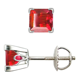 18K White Gold Stud Earrings : 1.00 cttw Rubies