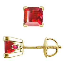 18K Yellow Gold Stud Earrings : 1.00 cttw Rubies