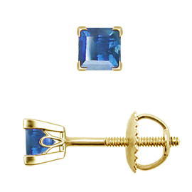 18K Yellow Gold Scrollwork Stud Earrings : 0.25 cttw Blue Sapphires