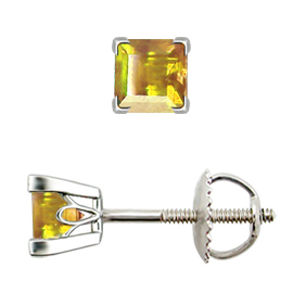 18K White Gold Stud Earrings : 0.50 cttw Yellow Sapphires