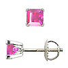 Scrollwork Style Princess Pink Sapphire Stud Earrings, 4 Prongs - 18K White Gold