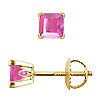 Scrollwork Style Princess Pink Sapphire Stud Earrings, 4 Prongs - 18K Yellow Gold