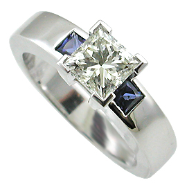 18K White Gold  Ring : 0.90 cttw Diamond & Sapphires