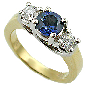 18K Two Tone 1.50cttw Sapphire & Diamond Ring