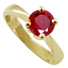 18K Yellow Gold Solitaire Ring : 1.00 ct Ruby