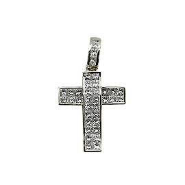 18K White Gold Cross Pendant : 1.45 cttw Diamonds
