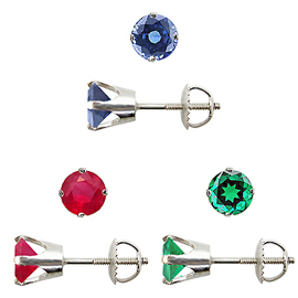 Package of 3 Gemstone Stud Earrings : 3/4 cttw Each of Emerald, Ruby and Sapphire Stud Earrings
