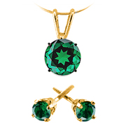 14k Yellow Gold 1/2 cttw Emerald Pendant and Stud Earrings