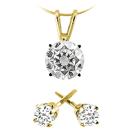 Christmas Gift Pack : Set of 3/4 cttw Diamond Pendant and Stud Earrings